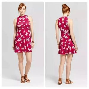NWT Xhilaration berry floral twist front dress